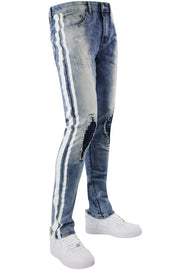 Destroyed Knee Track Denim Ice Blue (MS-13065) - Zamage