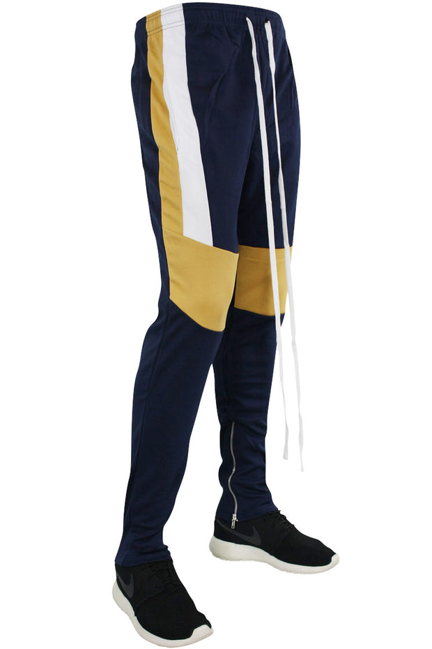 Color Block Track Pants Navy - Mustard - White (M4457PS) - Zamage