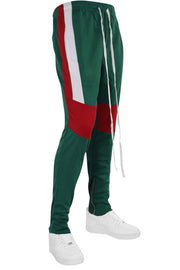 Color Block Track Pants Green - Red - White (M4457PS) - Zamage