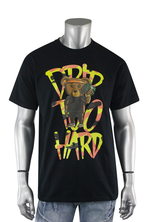 Drip Hard Bear Tee Black - Yellow (DS9020S-BY) - Zamage