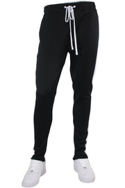 Solid One Stripe Track Pants Black - White (100-401)