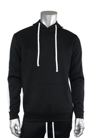 Pullover Track Hoodie Black - White (100-301)