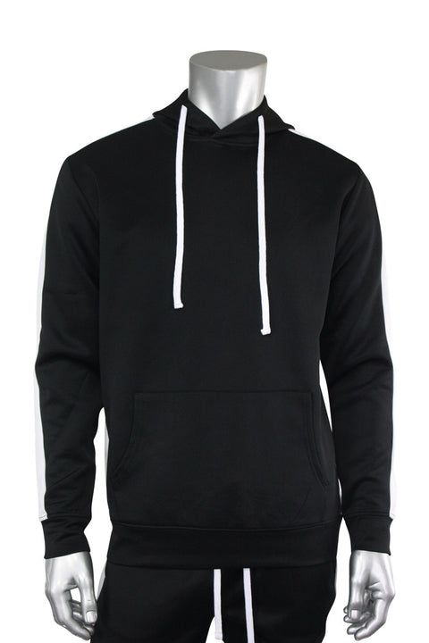 Pullover Track Hoodie Black - White (100-301) - Zamage