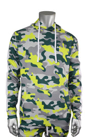 Allover Printed Pullover Track Hoodie Lime Grey Camo (192-313) - Zamage