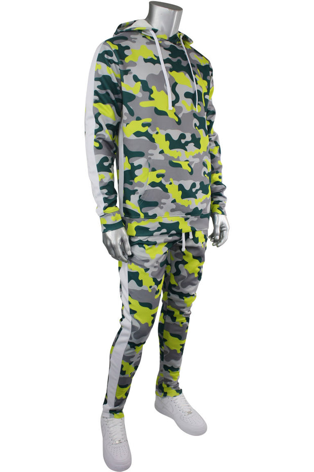 Allover Printed Stripe Track Pants Lime Grey Camo (192-413) - Zamage