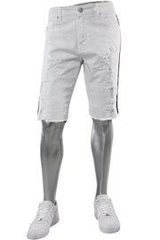 Jordan Craig Destroyed Side Stripe Denim Shorts White (J3157SA) - Zamage