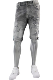 Jordan Craig Destroyed Side Stripe Denim Shorts Grey (J3157SA) - Zamage