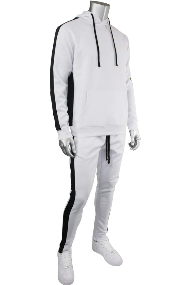 Pullover Track Hoodie White - Black (100-301) - Zamage