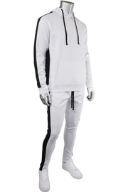 Solid One Stripe Track Pants White - Black (100-401)
