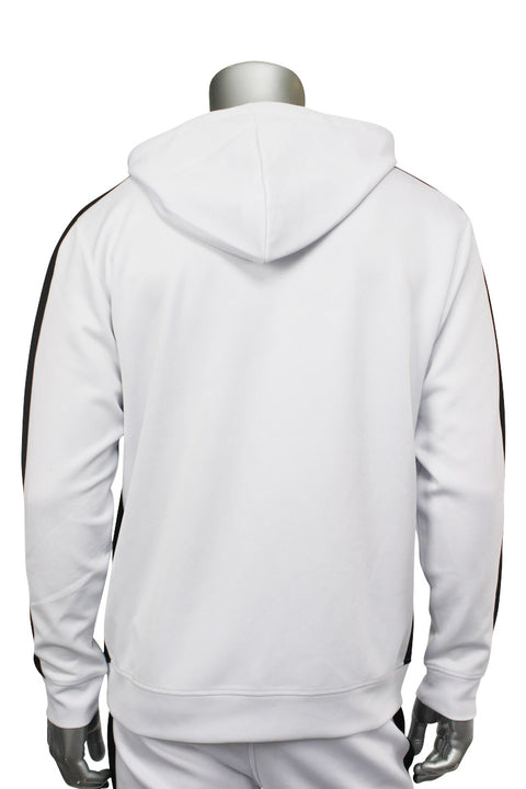 Pullover Track Hoodie White - Black (100-301)