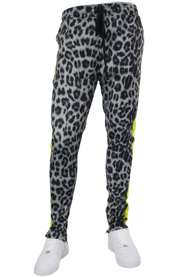 Allover Printed Stripe Track Pants Leopard Grey (192-412) - Zamage