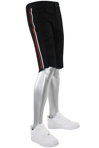 Jordan Craig Destroyed Side Stripe Denim Shorts Black - Red (J3157SA) - Zamage