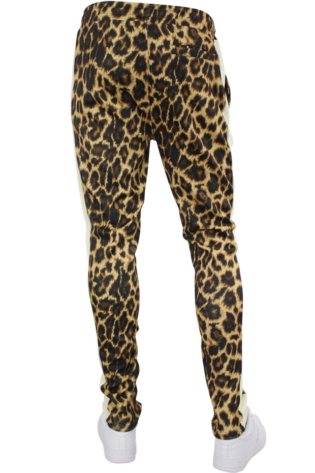 Allover Printed Stripe Track Pants Leopard (192-412) - Zamage