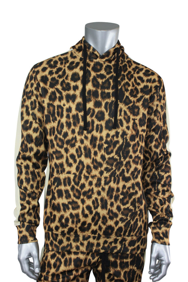 Allover Printed Pullover Track Hoodie Leopard (192-312) - Zamage