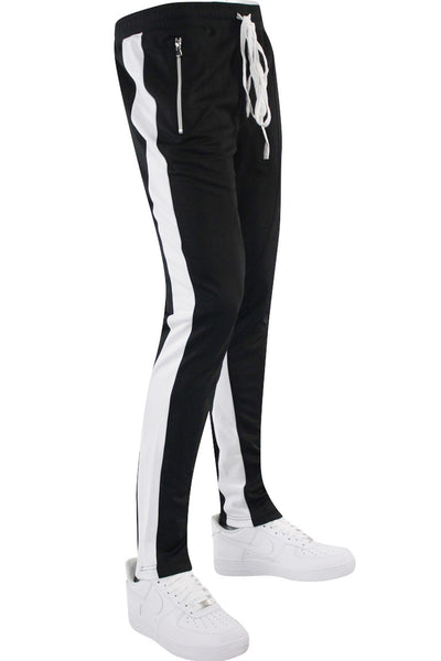 Zip Pocket Dual Stripe Track Pants Black - White (ZCM4386PS) - Zamage