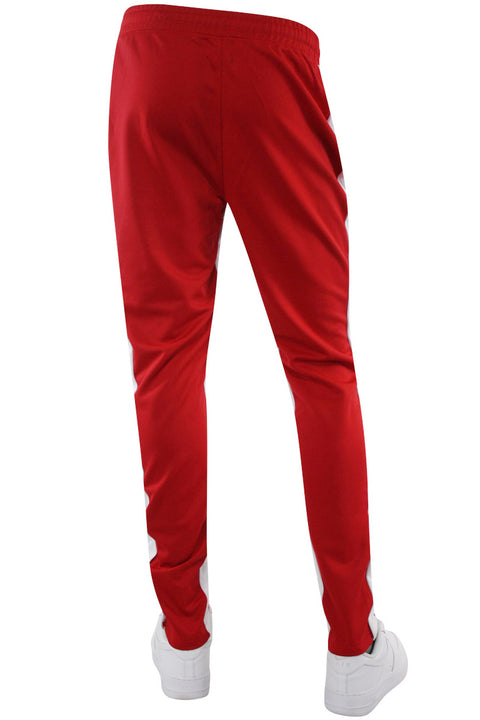 Zip Pocket Dual Stripe Track Pants Red - White (ZCM4386PS) - Zamage