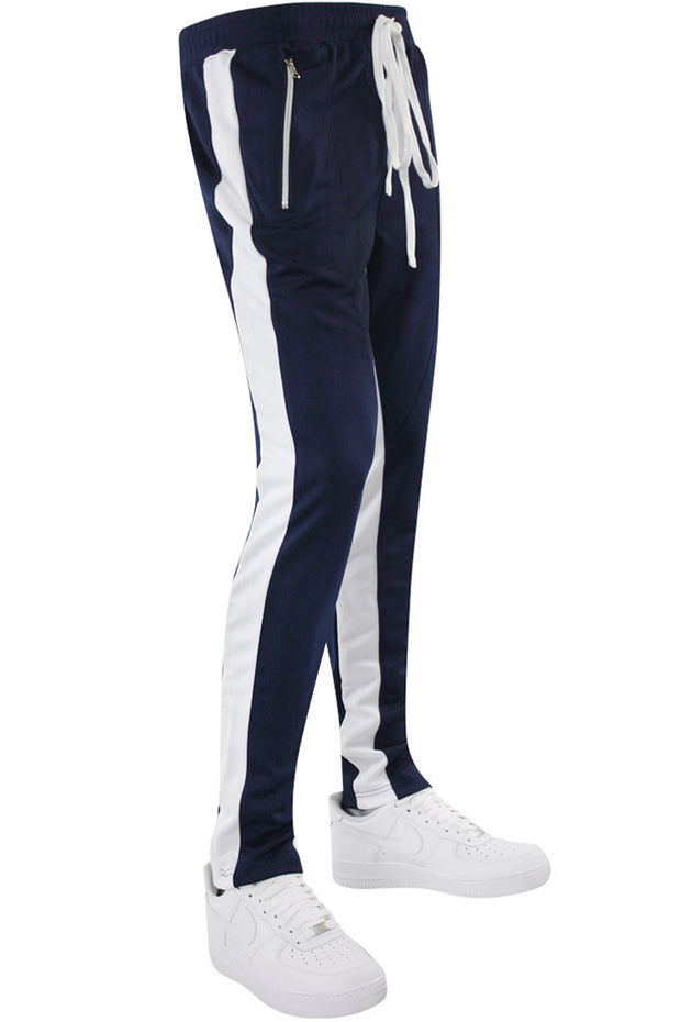 Zip Pocket Dual Stripe Track Pants Navy - White (ZCM4386PS) - Zamage