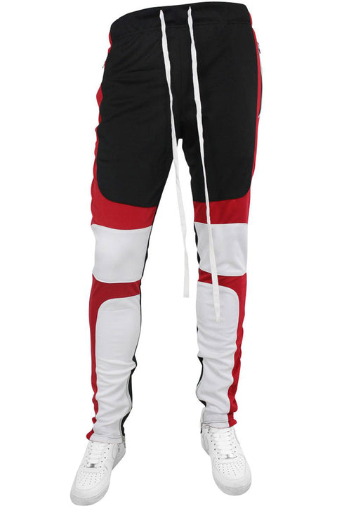 Color Block Track Pants Black - Red - White (M4565PSA) - Zamage