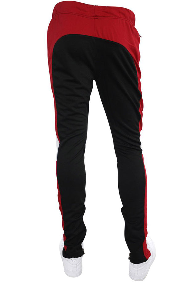 Color Block Track Pants Black - Red - White (ZCM4565PS) - Zamage