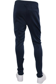 Solid One Stripe Track Pants Navy - White (100-401) - Zamage