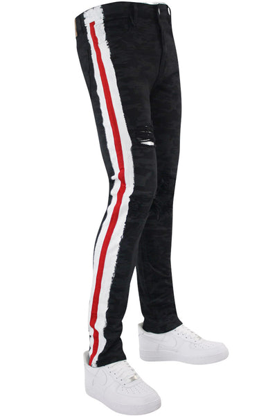Side Stripe Athletic Track Denim Black Camo - Red (M4700T) - Zamage