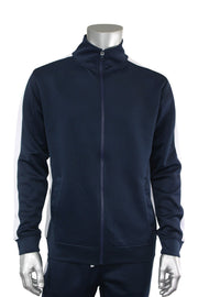 Solid One Stripe Track Jacket Navy - White (100-501) - Zamage