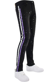 Cracked Side Stripe Skinny Fit Track Denim Black - Purple (M4839D) - Zamage