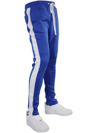 Solid One Stripe Track Pants Royal - White (100-402) - Zamage