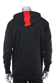 Taping Tech Fleece Hoodie Black - Red (F851)