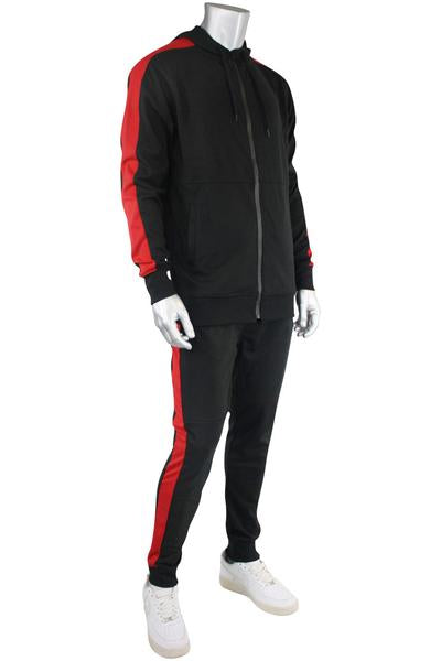 Taping Tech Fleece Hoodie Black - Red (F851 22S)