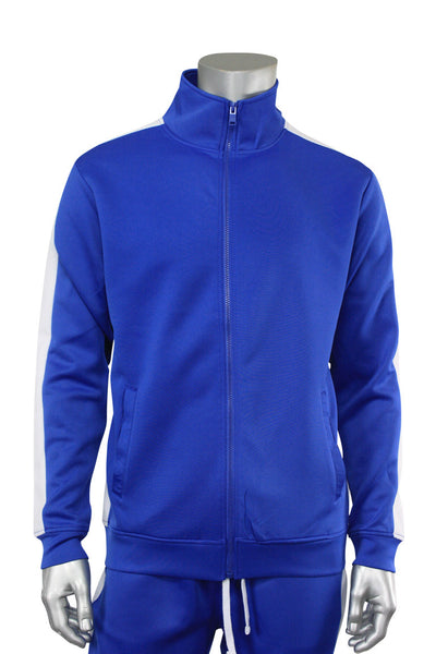 Solid One Stripe Track Jacket Royal - White (100-501) - Zamage