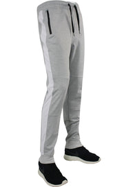 Taping Tech Fleece Track Pants Heather Grey - White (P851)