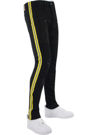 Reflective Side Tape Skinny Fit Denim Black - Neon Yellow (M4874R1T) - Zamage