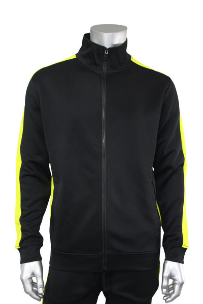 Solid One Stripe Track Jacket Black - Lime (100-501) - Zamage