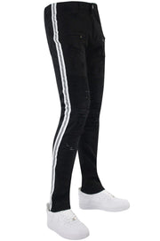 Reflective Side Tape Skinny Fit Denim Black - White (M4874R1T) - Zamage