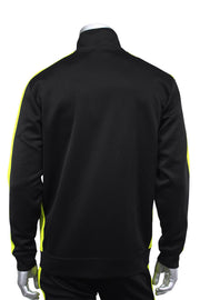 Solid One Stripe Track Jacket Black - Lime (100-501)