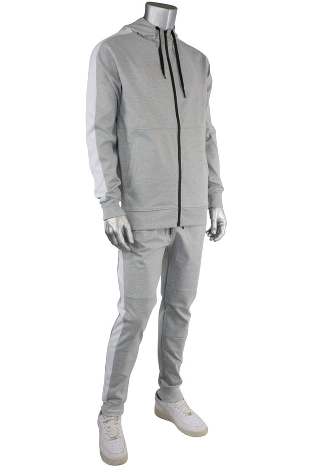 Taping Tech Fleece Hoodie Heather Grey - White (F851)