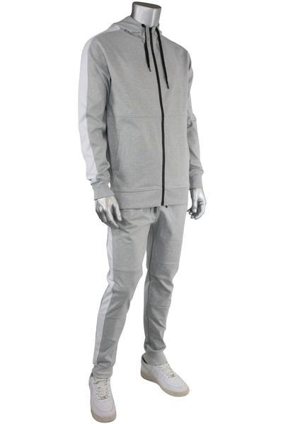 Taping Tech Fleece Hoodie Heather Grey - White (F851 22S)