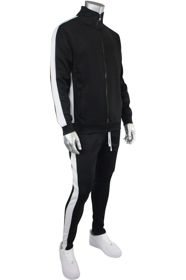 Solid One Stripe Track Jacket Black - White (100-501) - Zamage