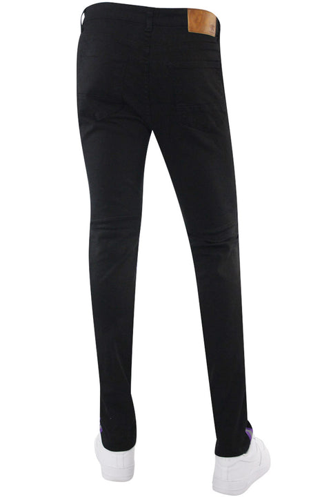 Reflective Side Tape Skinny Fit Denim Black - Neon Orange (M4874R1T) - Zamage