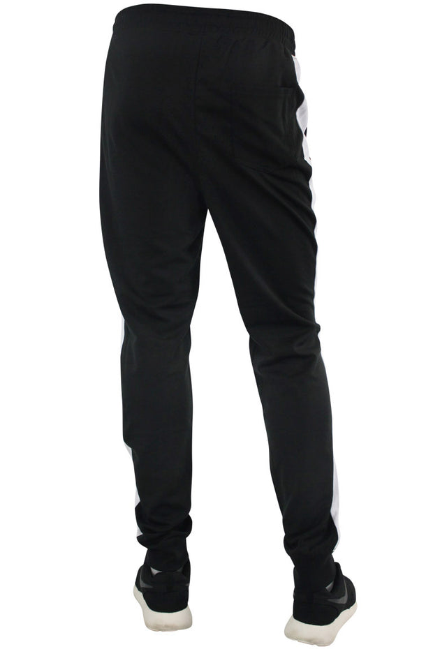 Taping Tech Fleece Track Pants Black - White (P851)