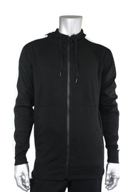 Taping Tech Fleece Hoodie Black - White (F851)