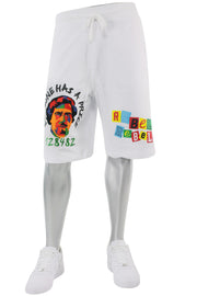 Embroidered Pablo Shorts White (1A1-928) - Zamage