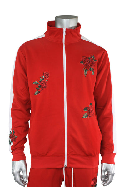 Rose Embroidered Track Jacket Red - White (F875)