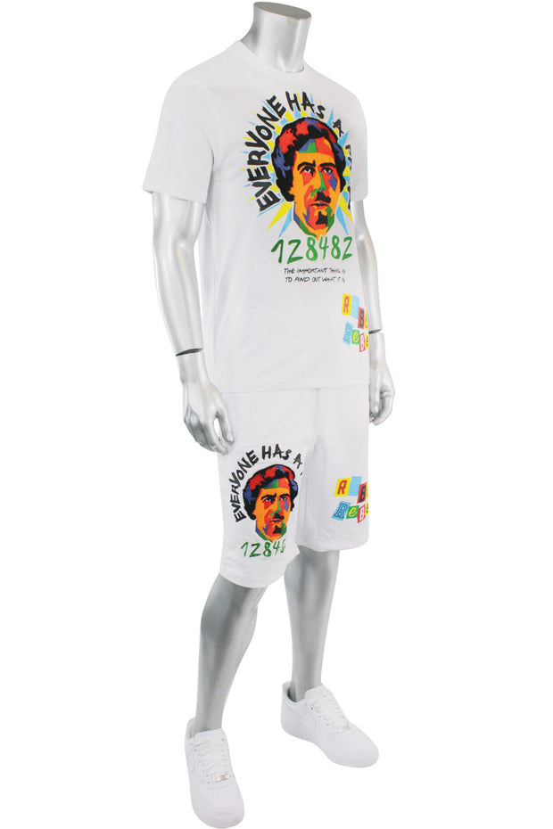 Embroidered Pablo Tee White (1A1-130) - Zamage