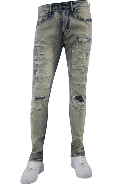 Ripped & Repaired Skinny Fit Denim Antique Wash (M4760D) - Zamage