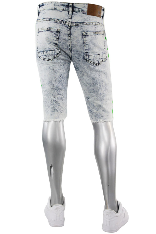Paint Splatter Denim Track Shorts Snow - Green (M7166DA) - Zamage