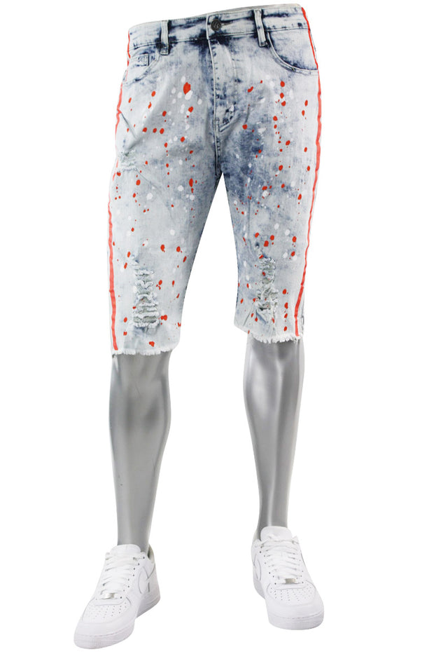 Paint Splatter Denim Track Shorts Snow - Orange (M7166DA) - Zamage