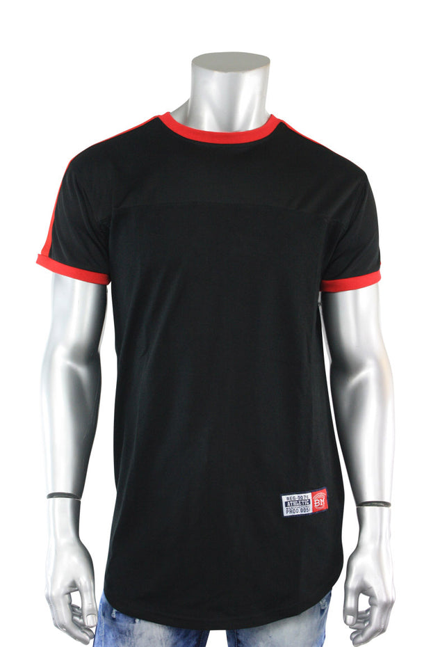 Striped Taping Tee Black - Red (T823)
