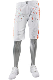 Paint Splatter Denim Track Shorts White - Orange (M7166T)